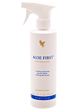 Aloe First with Aloe vera and propolis is a nice, fresh, cooling spray that conditions and soothes the skin.